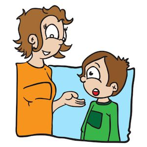 cartoon illustration of a boy talking with his mom isolated on white